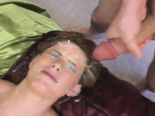 Bodacious slut gets gangbanged and takes a heavy cumload on her face