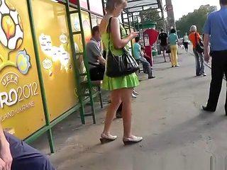 Blonde teen in short green dress upskirt