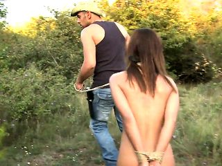 Restrained submissive anally punished by dom