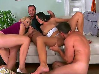 Exclusive foursome with two straight guys and two lesbians Choky Ice and Kirsten Plant!