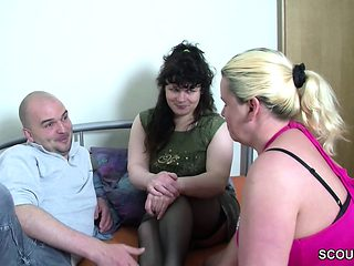 He Get his First Threesome with Two German Milf