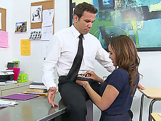 Marvelous brunette hair student gives deepthroat oral-stimulation to her teacher