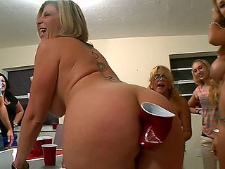 Red solo cup party takes on a new spin as its crammed into a full, rounded ass for perverse pleas...