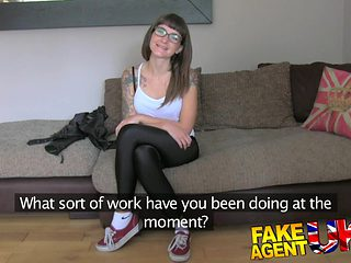 FakeAgentUK: Creampie filling for slim tattood local waitress