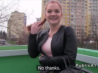 Redhead Czech student banged outdoor