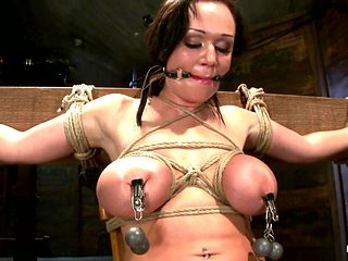 Big Titted 21yr Old In Her First Ever Hardcore Bondage Shoot Once Helpless We Abuse Those Tits. -...
