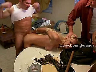 Thiefs force slave to fuck in brutal deepthroat and double penetration gang bang sex video