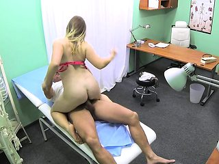 Bigboobed patient sucks off doctor