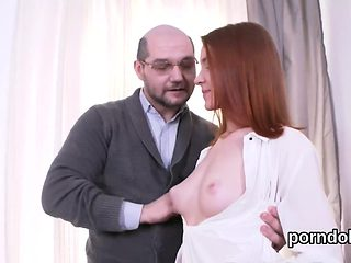 Cuddly bookworm is teased and plowed by her senior teacher