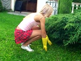 Skinny flat chested blonde having fun after gardening work