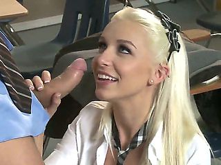 Young teacher - sexy blonde Alektra Blue and her boss Stevie Shae know how to have fun after lessons