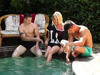 Blonde rides bisex dick