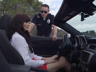 Mature bimbo Bianca receives a screwing instead of a speeding ticket