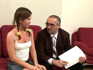 Sweet babe is getting spooned by horny elderly teacher