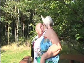 old couple fucks in the woods