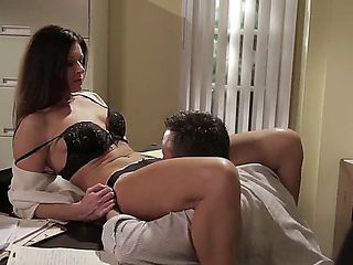 Luxurious babe India Summer stays in sexual tiny lingerie. Dude is moving aside tiny panties of t...