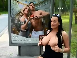 German mom masturbates  in public bus statiton