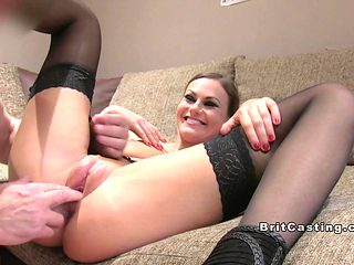 Slim cutie in stockings anal fucks in casting