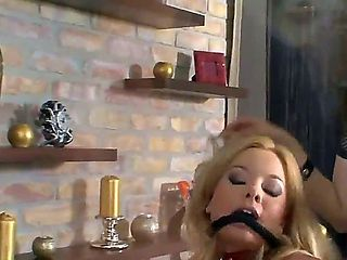 My man Rocco Siffredi has two total babes at his disposal. The blonde is bound and gagged and for...