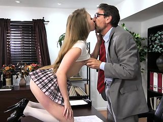 Schoolgirl uses tits to seduce her Dean and fucks him