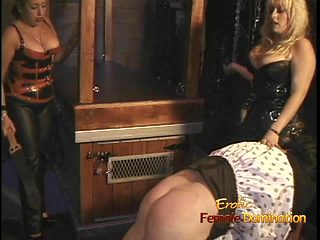 Two chubby dominas give a horny stud a proper spanking