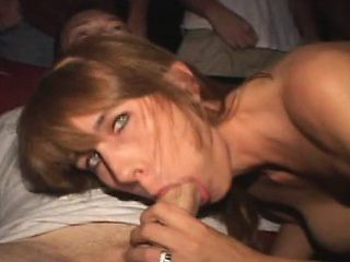 Lustful wife with lovely boobs wildly sucks and fucks hung strangers