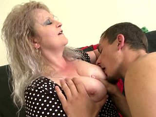Dirty mother blows and fucks young son