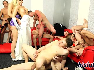 Raunchy bitches get nailed in an orgy
