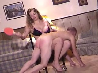 Tall girl punishing weak slave
