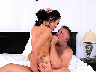Busty housewife riding huge fat cock