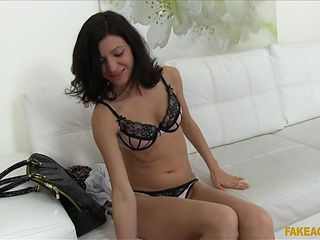sexy brunette enjoys her first casting interview