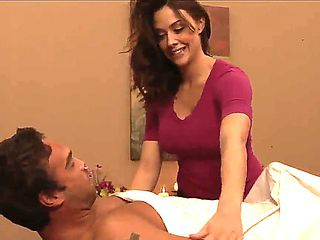 The beautiful brunette pornstar Chanel Preston makes an awesome massage to her boyfriend Rocco Reed