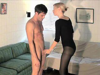 Sensual blonde with big tits Vanessa Vixon displays her handjob skills
