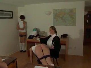 Teacher spanks three girls