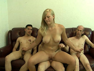 Seductive blondie Jessica Brandy fucks three dudes in turn