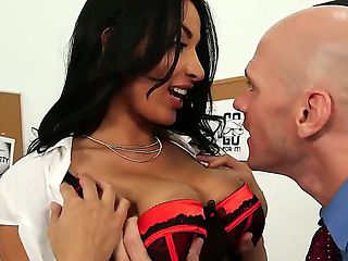 Johnny Sins knows how to get girls in the mood and he does it with Anissa Kate. He licks her tigh...