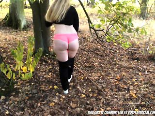 One Of The Sluts From My College Caught In The Woods...
