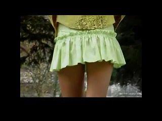 Upskirt on No Panties Blonde Teen