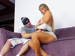 Busty Brazilian With Ass Shots Rides Cock On The Couch
