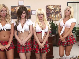 naughty schoolgirls punished in the principal's office