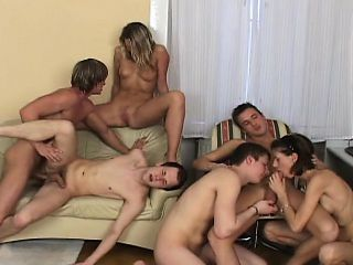 Long-haired young beauty gets off on watching these guys fuck