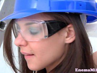 Construction lesbian rimming milk filled ass