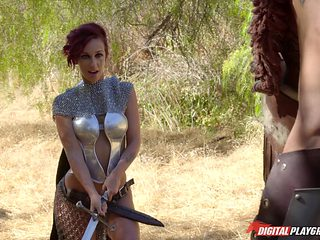 Horny redhead warrior princess getting bonked in the wilderness