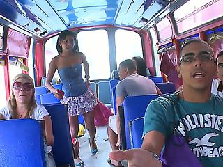 Sweet Angie gets seduced and convinced to get nasty and show off in the bus