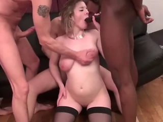 Pregnant French Maid With Big Tits Gangbanged
