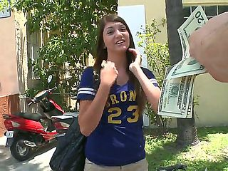 Innocent looking schoolgirl Cassandra Nix wtih tight body in hot pants gets filmed on the street ...