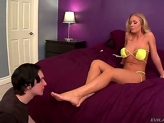 Submissive black haired skinny dude Deviant Kade with foot fetish serves to gorgeous playful blon...