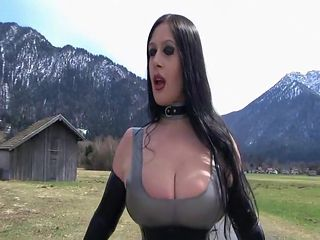 Outdoor Blowjob and Handjob near the Street - Fuck my nasty Mouth - Cum on my new Latex Dress