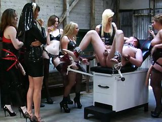 7 vicious girls gang strapon fucking the sissy.