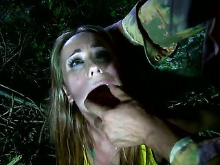 Young cutie Leyla Black got caught by some fuck hungry soldier in the woods and he forced her to ...